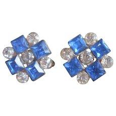 1930s Earrings Screw Back Blue Square Rhinestones Vintage