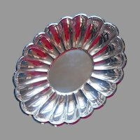Fluted Silver Plated Scalloped Serving Dish Shallow Bowl Vintage