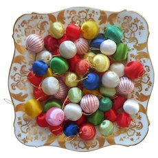 Spun Satin Ball Christmas Small Ornaments Balls Package Decoration Vintage