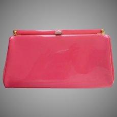 ca 1970 Mod Era Pink Patent Clutch Purse