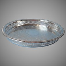 Gallery Rim Serving Tray Silver Plated Vintage