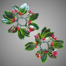 Vintage Holly Leaves Berries Decorations Christmas Homemade Candle Rings