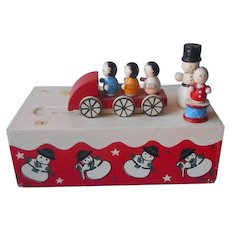 Christmas Music Box Wooden Figures TLC Needed Plays We Wish You A Merry Christmas