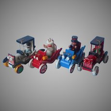 Vintage Christmas Ornaments Painted Wood Old Fashioned Automobiles