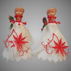 Vintage Plastic Christmas Kitsch Ponytail Girl Decorations Pair Odd Fringed