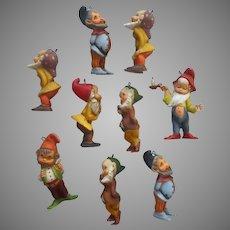 9 Dwarfs Vintage Christmas Ornaments Elves Gnomes Tree Package Hong Kong
