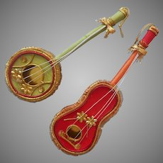 ca 1970 Christmas Tree Ornaments Musical Instruments Guitar Banjo or Mandolin Violin Vintage