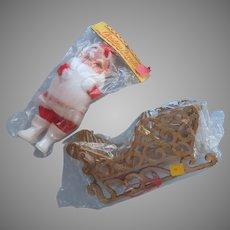 1960s Vintage Sleigh Santa Original Packaging Christmas Decorations