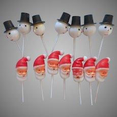 Vintage Party Picks Cupcake Decorations Christmas Santa Snowman Heads 14
