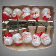 Vintage String Lights Santa Claus Heads Works Christmas Tree