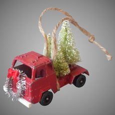 Christmas Tree Ornament Tootsie Toy Truck Carrying Christmas Trees Vintage Die Cast