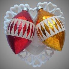 Glass Ornaments Christmas Tree 2 Vintage Diamond Bands Stencil Teardrop