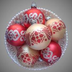 Shiny Brite Glitter Stencil 6 Vintage Glass Christmas Tree Ornaments