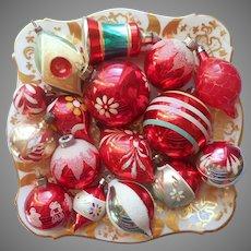 16 Glass Christmas Tree Ornaments Vintage All Red Shiny Brite Poland Etc