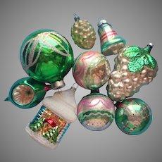 9 Glass Christmas Tree Ornaments Vintage All w Green Poland Shiny Brite Etc
