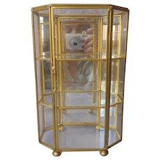 Glass Vitrine Curio Brass Mirror Back Vintage Table Top Standing Octagon TLC
