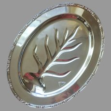 Meat Carving Platter Vintage Silver Plated Footed Well And Tree