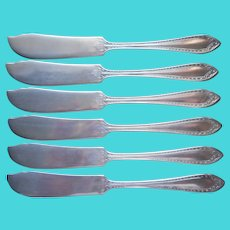 Sheraton 1910 Butter Spreader Knives Antique Silver Plated 6 Community Oneida
