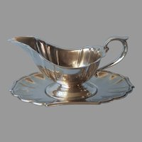 Gorham Heritage Gravy Sauce Boat Under Plate Vintage Silver Plated