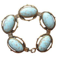 1920s Glass Brass Bracelet Vintage Faux Turquoise Art Glass Links