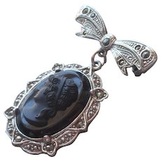 1928 Jewelry Co.  Company Pin Black Glass Cameo Bow Marcasite