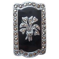 Sterling Onyx Marcasite Pin Silver Vintage Posy