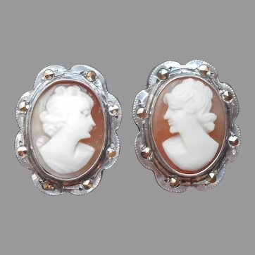 800 Silver Marcasite Cameo Clip Earrings Vintage 1920s to 1930s Italy