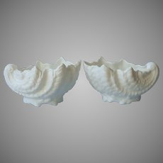 Coalport Sea Shell Form Pair Small Low Vases Nut Candy Dishes All White