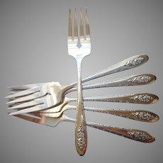 Lady Stuart 1949 Salad Dessert Forks 6 Vintage Silver Plated