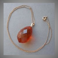 1920s to 1930s Amber Drop Necklace Faceted Tear Drop Gold Filled Chain
