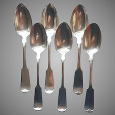 Classic Tipped Pattern Antique 6 Silver Plated Table Spoons