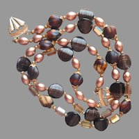 All Glass Beads Brown Shades Vintage Necklace Needs New Fittings