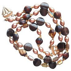 All Glass Beads Cool Brown Shades Vintage Necklace Needs New Fittings