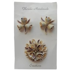 Sea Shell Pin Earrings Original Card Brown w Topaz Color Rhinestones Vintage
