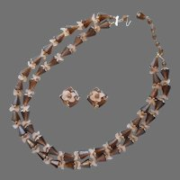 1960s Plastic Novelty Beads Necklace Clip Earrings Vintage Brown Gold Tone