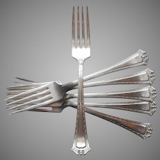 Monogram S Continental 1914 6 Dinner Forks Antique Silver Plated