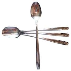 Casual Pattern IS International Stainless Steel 4 Iced Tea Spoons Vintage Flatware