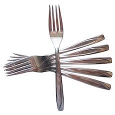 Casual Pattern IS International Stainless Steel 6 Dinner Forks Vintage Flatware