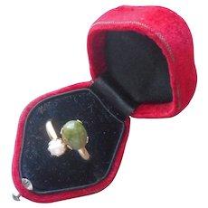 1975 Cultured Pearl Jade Ring Vintage Sarah Coventry Adjustable Jade N Pearl