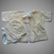Baby Bonnet Jacket Embroidered Wool Lace Vintage Newborn