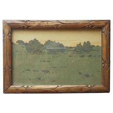 ca 1920 Frame Postcard Size Antique Carved Wood