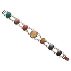 Scarab Watch Band Bracelet Genuine Stones Quartz Vintage