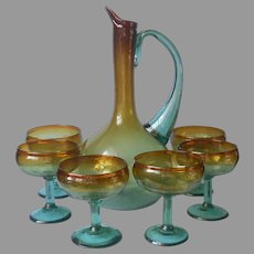 ca 1970 Mexican Blown Glass Cocktail Pitcher Margarita Glasses Vintage