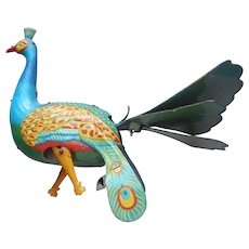 Wind Up Tin Toy Proud Peacock Vintage Mechanical Works Fine Missing Feet