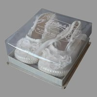 1940s Satin Lace Baby Shoes Vintage Christening Baptism