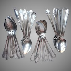 24 Silver Plated Teaspoons Vintage All Different Patterns