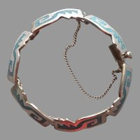 Mexico Sterling Silver Crushed Turquoise Inlay Bracelet Vintage