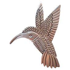 Allison Snowhawk Lee Pin Pendant Hummingbird Sterling Silver Native American Vintage Bird