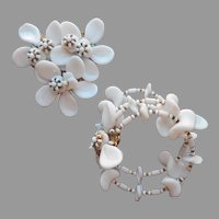 Miriam Haskell Set Pin Wrap Bracelet White Glass Beads Filigree TLC Needed