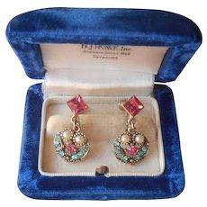 1950s Pink Aqua Blue Rhinestones Dangle Earrings Vintage Faux Pearls Screw Back